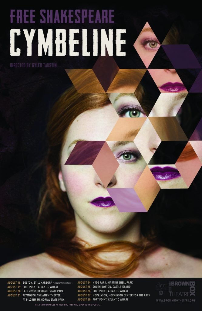 geometric poster for a Shakespeare play with young woman