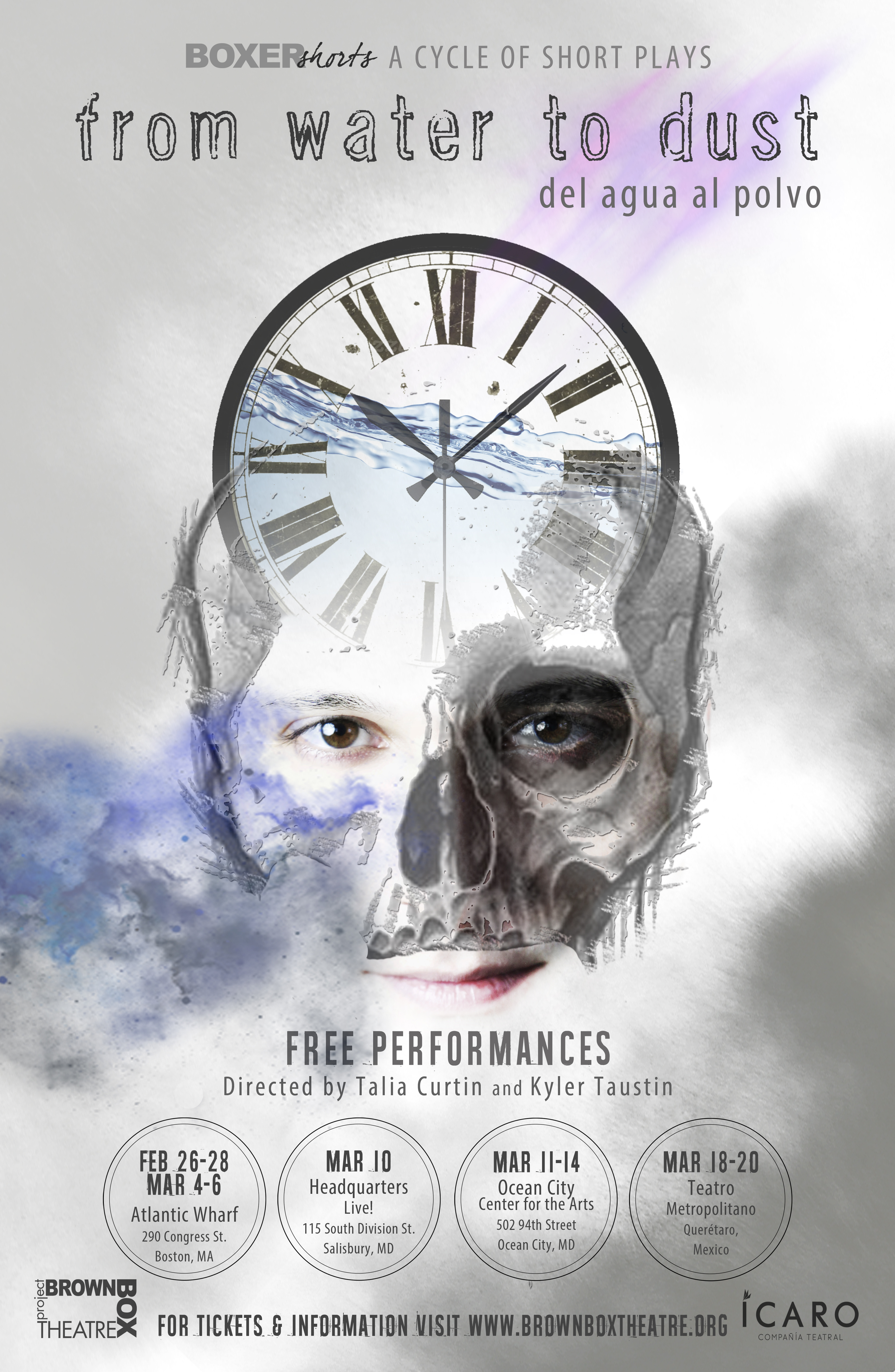 poster for a play with man-skeleton face and clock