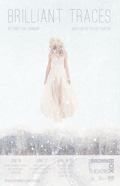 poster for a play with faded picture of a woman floating in the air in the snow