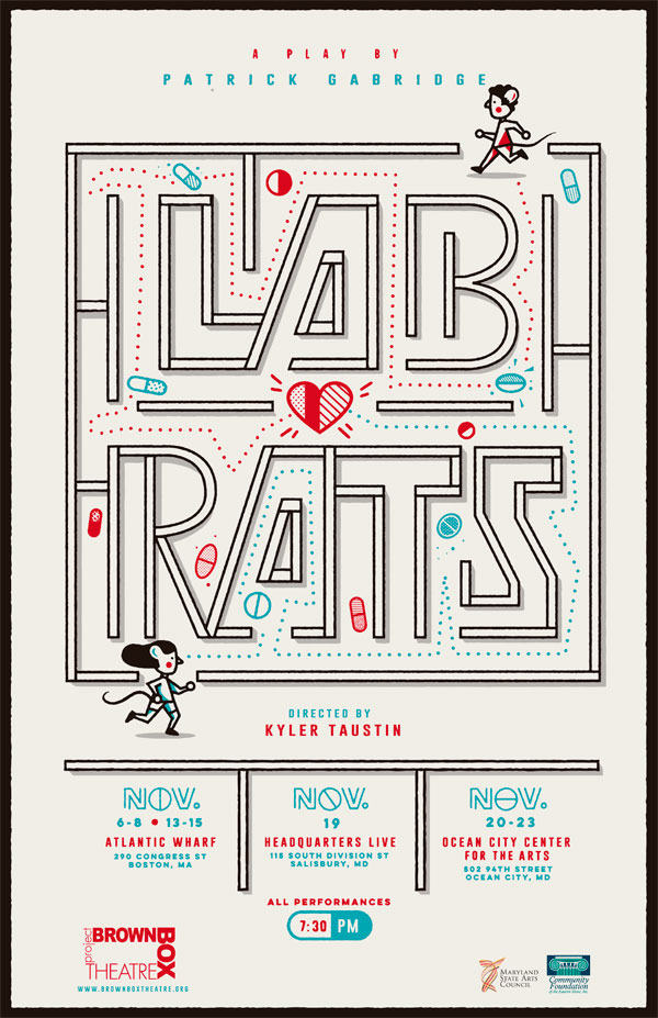 theater play Lab Rats poster letters form a labyrinth