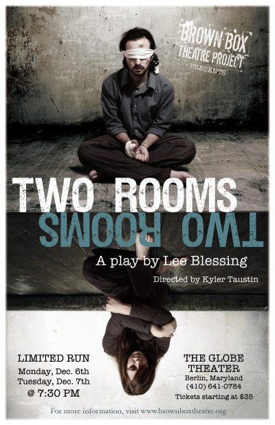 theater play Two Rooms poster man in a blindfold